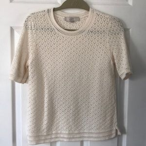 Tops - LOFT 100% COTTON KNIT CREME BLOUSE